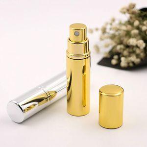 Brilliant Gold Silver 5ml Botella de perfume portátil recargable Traveler Atomizador de pulverización de aluminio Empty Parfum Spray Atomizer Container
