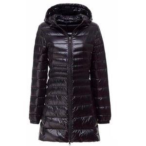 Nuevas mujeres de la marca larga delgada luz abajo chaqueta mujer primavera otoño invierno con capucha cremallera Parka Jaqueta Casaco Feminino abrigos S18101203