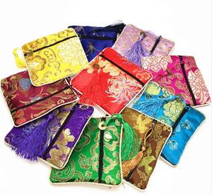 Hohe Qualität Kleine Zipper Pouch Party Favor Square Quaste Geldbörse Seidenbrokat Schmuck Geschenk Verpackung Taschen 10 teile / paket