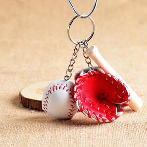 Mini Beyzbol Sopası ve Eldiven Topu Spor Fan Anahtarlık Erkek Kadın Çantaları Araba Anahtarlık Çiftler Kadınlar Için Lover Hediye Anahtarlık Takı