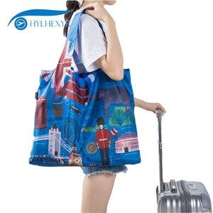 Hylhexyr City Series wiederverwendbare faltbare Einkaufstasche Picknick Reise Polyester einzelne Schulter wasserdichte Handtasche Tasche