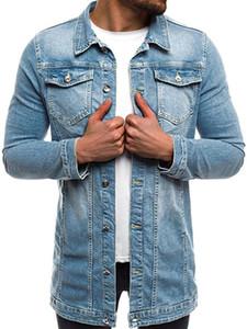 2018 Mens 'Automne Hiver À Manches Longues Vintage En Voulue Demin Veste Top Manteau Outwear Printemps Hommes Vestes