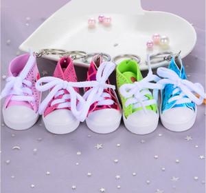 Sapatilha 3D Chaveiro Novidade Imitação Sapatas de Lona Anel Chave Sapatos Chaveiro Titular Bolsa Pingente Favores Lantejoulas Sapatos Chaveiros 30 pcs