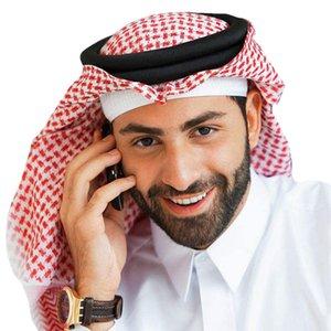 Árabe Musulmán Hijab para hombres Mantas Turbante Bufanda de algodón Sombreros de oración Ropa musulmana Cabeza envuelta Pañuelo de Arabia Saudita Abaya Dubai Emiratos Árabes Unidos