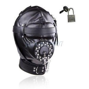 Soft Full Plug # E94 Muzzle Kopfbedeckung Hood Kopf Blindfold Restraints Maske Mund Gimp Xhwse