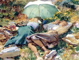 John Singer Sargent - Uma Siesta meninas Jovens dormindo guarda-chuva Pintado À Mão HD Impressão Arte Pintura A Óleo sobre Tela Wall Art Home Deco p372