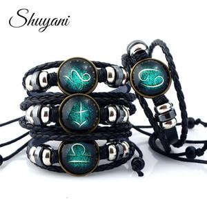 Shuyani 12 Constellation Armbänder Armreif Charms Sternzeichen Glas Cabochon Punk Schmuck Multilayer Lederarmband Frauen Männer Geschenk Y1891908