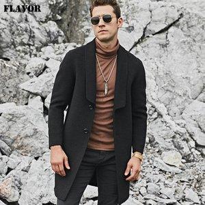 FLAVOR erkek Gerçek Yün Ceket Sıcak Ceket Uzun Siyah Slim Fit Dış Giyim Yün Trençkot