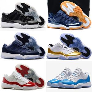 Высокое Качество 11 Низкая Закрытие Ретро Церемония Темно-Синий Резинки Баскетбол Обувь Мужчины Женщины 11 s Бароны Университета Red Bred Legend Синие Кроссовки
