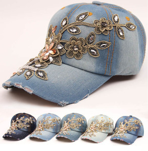 Casquette de baseball pour femmes Diamant Peinture Broderie Fleur Denim Snapback Chapeaux Jeans Femme Casquette Cowboy Été Chapeau De Soleil