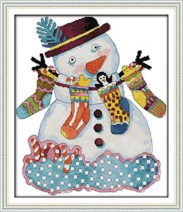 Muñeco de nieve de Navidad pinturas para la decoración del hogar, bordados a mano punto de cruz bordado conjuntos impresión impresa sobre lienzo DMC 14CT / 11CT