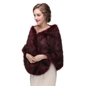 New Arrival Burgundy Winter Wedding Bridal Wraps Accessories Fur Wedding Jacket Bridal Wrap 3 Colors Women Wedding Cape