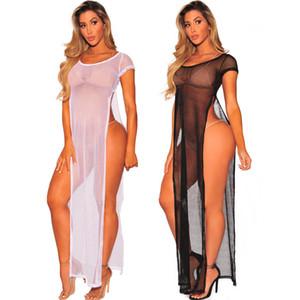 2018 nouveau style blouse de bikini en filet de pêche, maille évidée, robe en perspective.