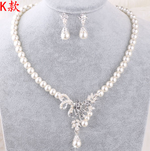Perle all'ingrosso Collana di gioielli da sposa Set di orecchini con perle finte Prom Party Wedding Crystal Jewellery Accessori da sposa Cheap
