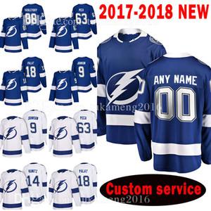Tampa Bay Lightning personalizado 2018 homens 88 Andrei Vasilevskiy 63 Matthew Peca Jersey 18 Ondrej Palat 9 Tyler Johnson 14 Chris Kunitz Jerseys