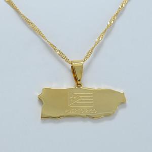 Gold Farbe Karte von Puerto Rico Dünne Kette Anhänger Halsketten für Frauen Mädchen Puerto Ricaner Itmes Schmuck # J0626