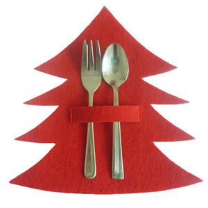 4pcs lot Christmas Tree Shape Dinnerware Holder Christmas Decoration Gifts Tableware Bags Dinner Kitchen Decoration