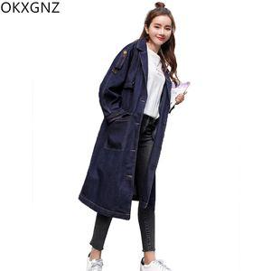 Autunno lungo allentato Denim donna trench coat Plus Size bavero monopetto casual femal denim cappotto autunno fidanzato OKXGNZ