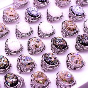 Placcatura in argento di lusso Amber Opal Man Ring Gioielli Anello vintage Anello colorato in pietra naturale Anelli centrali Anelli antichi in pietra preziosa d'argento