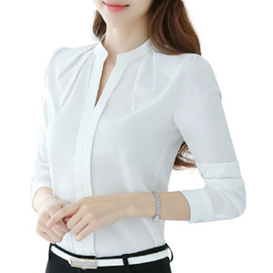 Naiveroo Women V-Neck Tops Long Sleeve Casual Chiffon Blouse Female Work Wear Solid Color Spring Autumn White Office Shirts