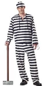 Costume nero del prigioniero della banda bianca Halloween Costumi di Halloween per gli uomini Carnival Party Cosplay Prisoner Uniform