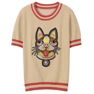 2018 синий / абрикос / розовый с короткими рукавами мультфильм печати женские футболки бренд же стиль собака печати футболки женщин 34