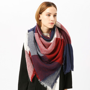 Autumn And Winter Ms Plaid color matching scarf Cashmere warm scarf Couple fashion shawl new style wholesale