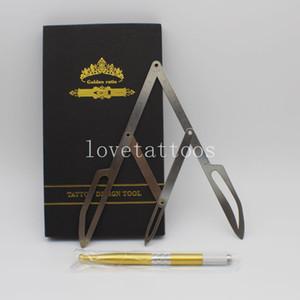 1 kit Sobrancelha Ouro Proporção Régua1 caixa de Compassos Estêncil Ferramenta de Maquiagem Permanente Medida de Ouro Médio DIVIDER CALIPERS Sobrancelha Microblading