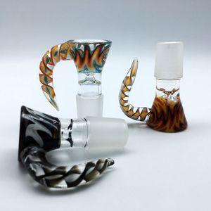 2018 Wig Wag Ciotola di vetro con manico colorato 14mm 18mm Ciotole di vetro Bong Bowl Ciotola di tabacco Pezzo di fumo Accessori per bicchiere di vetro Bong