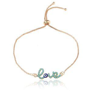 Новый простой дизайн любви турецкая золотая цепь сглаз браслет Crstal Blue Eye золотые браслеты для женщин девочек Дубай