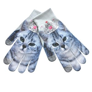 KLV Das Mulheres Dos Homens de Inverno Quente 3D Impressão Tela Do Telefone Malha Kitty Pet Luvas Bonitas z0920 D18110806