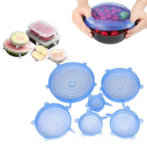 6Pcs Set Silicone Stretch sealing Lids Food Grade Fresh Keeping Wrap Seal Lid Pan Cover Kitchen Tools Accessories C5305