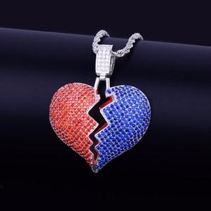 Red Blue Coração Quebrado Colar Pingente Novos Homens Mulheres Hip hop Jóias Bling Cubic Zircon Cor De Ouro Com Corda Cadeia Para O Presente