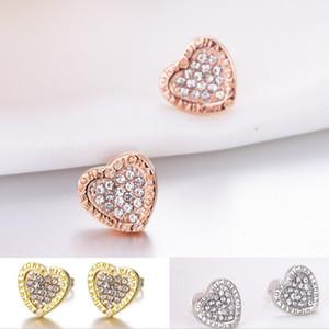 Мода формы сердца Gem Diamond STED серьги для женских роскошных ювелирных изделий подарок розовые золотые серебряные серьги
