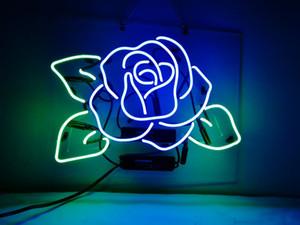 Neon Signs Blue Rose Beer Bar Pub-Party Blumenladen Raum-Wand-Fenster anzeigen Neon Light 17x14
