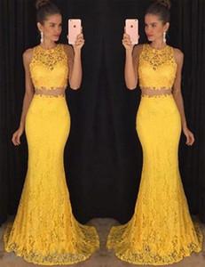 Два кусочка Mermiad платья выпускного вечера 2018 Желтый Lace Jewel Поезд стреловидности Sexy Дешевые Специальный партии вечера мантий Arabic сшитое