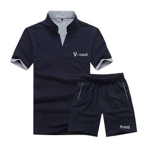 Moda Ter Suit Eşofman Erkekler 2 ADET Şort Yaz Marka Tshirt Erkekler Mektup Baskılı Sportsuit Set 2018 Moda Suit Erkek Üst Erkekler Gömlek