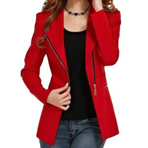 2017 NEUE Frauen Langhülse kurze Winterjacke Reißverschluss Jacken weibliche Kleidung Mantel Frau outwear rot 4 Größe