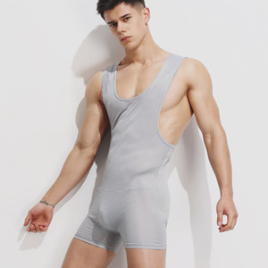 Yehan Men 's Singlet Underwear Solid Mesh Wrestling Singlet Haut Élastique Sous-Maillot Respirant Hommes Body Tight Men Combinaison