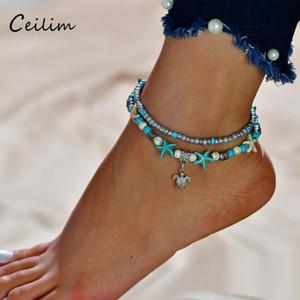 Schildkröte Anhänger Fußkettchen Perlen Seestern Für Frauen Antik Silber Farbe Vintage Barfuß Sandale Aussage Armband Fuß Kette Boho Schmuck