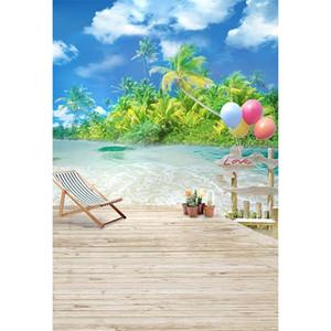 Strand Themed Fotografie Backdrops Palmen Blue Sky Wolken Seaside Scenery Balloons Sommerferien Hochzeit Foto Hintergründe Holzboden