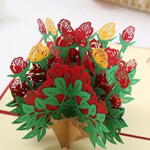 3D цветочная корзина всплывает бумажные открытки ручной работы для свадебных приглашений на день рождения праздничные принадлежности