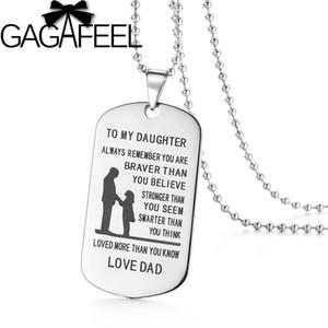 """GAGAFEEL """"a mia figlia Lovers"""" catena in acciaio inox a sospensione con fai da te incidere il nome ID Tag per famiglie amanti regalo speciale"""