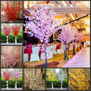 160 Pcs Artificial Cereja Primavera Plum Peach Blossom Ramo De Seda Flor Da Árvore Para A Festa de Casamento Decoração branco vermelho amarelo rosa 5 cor