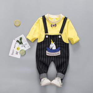 أزياء ربيع الخريف بلون جولة الرقبة سترة ومقلم مريلة رومبير مجموعتين تناسب الأطفال 80-110cm 2 الألوان