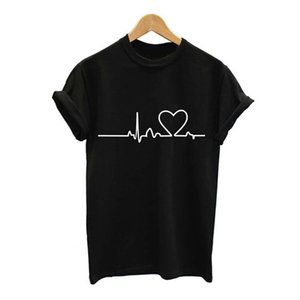 NEW2017 Heartbeat Love Stampato T-shirt donna estate manica corta manica corta t-shirt donna Tops Plus Size