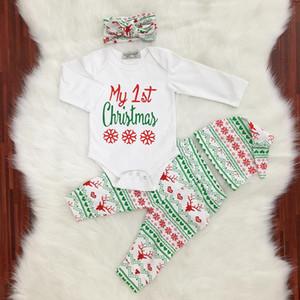 Yeni Noel Giyim Setleri 4adet Kıyafet 'My First Christmas' Hairband Hat ile Bebek Tulumu Set Uzun kollu
