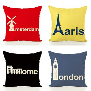 Vintage London Paris Funda de cojín Throw Pillow Covers Car Print Funda de almohada para el sofá Fundas de almohada Inicio almohadas decorativas Set de 4