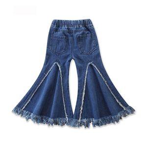 Printemps Automne Bébé Fille Jeans Glands De Mode Trou Botte Cut Denim Pantalon Pantalon Long Pantalon Enfants Vêtements 1-5A E18614
