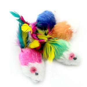 부드러운 양털 False 마우스 고양이 장난감 다채로운 깃털 강아지 훈련 고양이 장난감 ZA6138에 대 한 훈련 완구를 재생